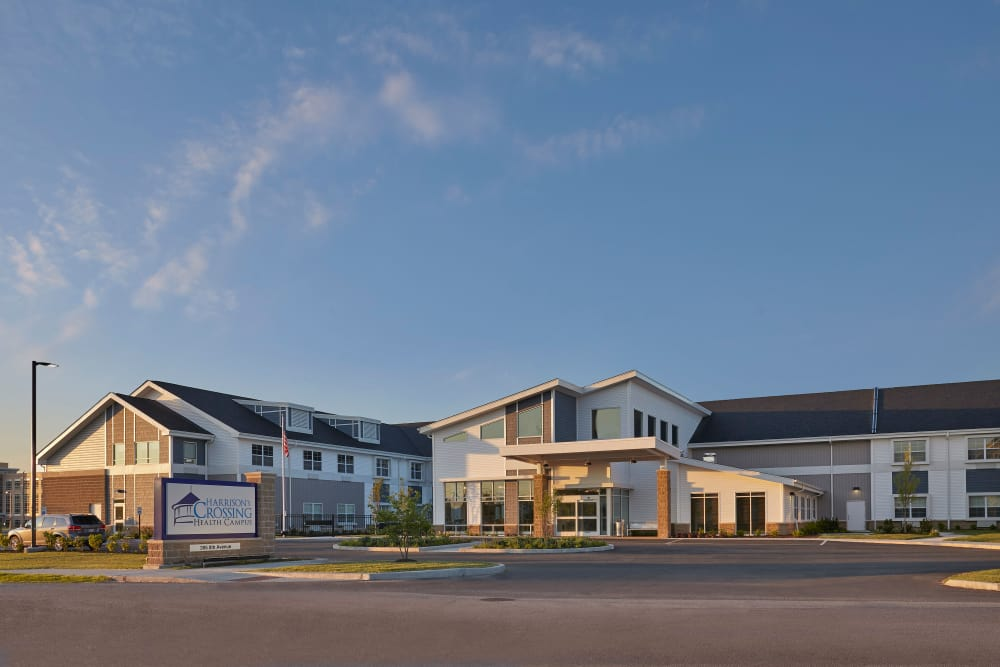Building exterior at sunrise at Harrison's Crossing Health Campus in Terre Haute, Indiana