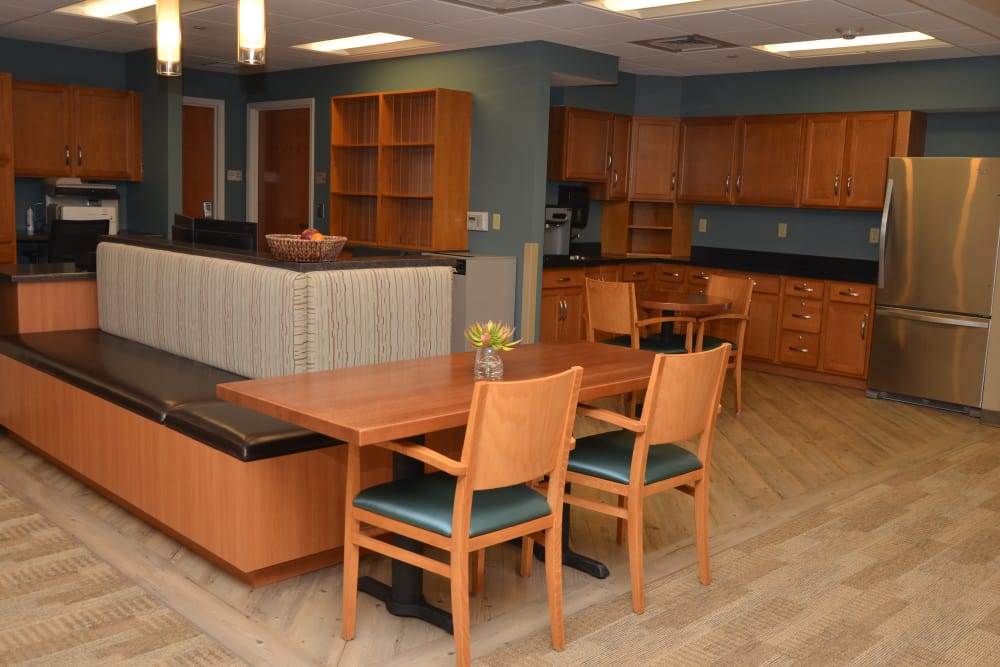 Community kitchen for residents at Harrison's Crossing Health Campus in Terre Haute, Indiana