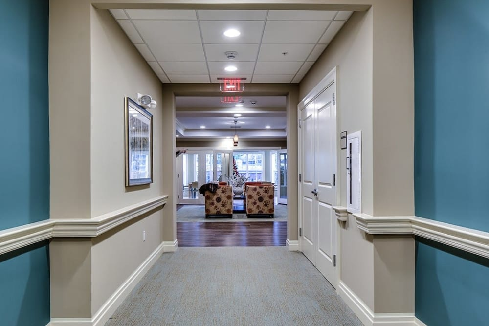 Lobby hallway at Maplewood at Stony Hill in Bethel, Connecticut