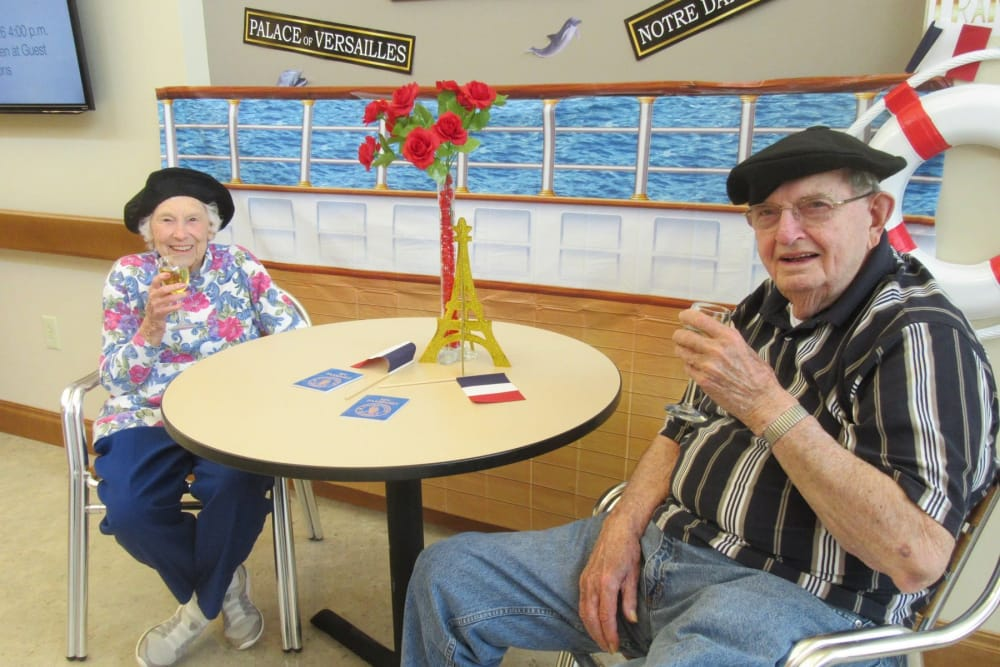 Two residents at a themed party at Stonecroft Health Campus in Bloomington, Indiana