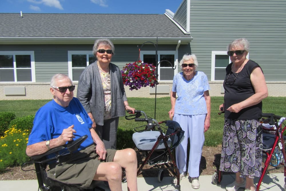 Residents enjoying the sunshine at Stonecroft Health Campus in Bloomington, Indiana