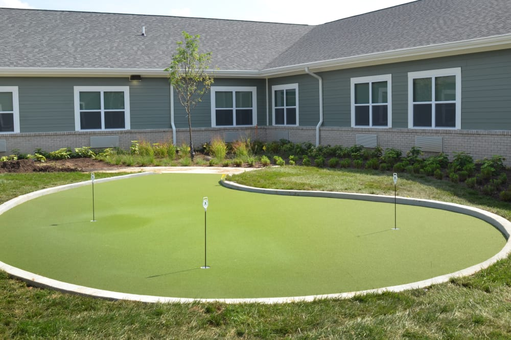 Mini golf course for residents at Stonecroft Health Campus in Bloomington, Indiana