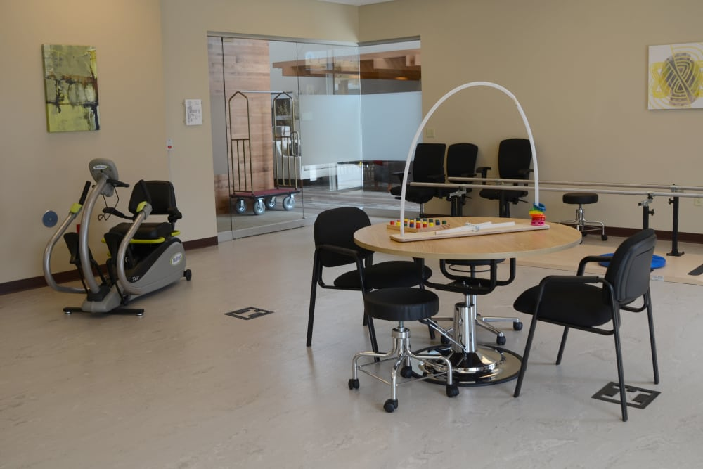 Rehabilitation room with equipment at Stonecroft Health Campus in Bloomington, Indiana