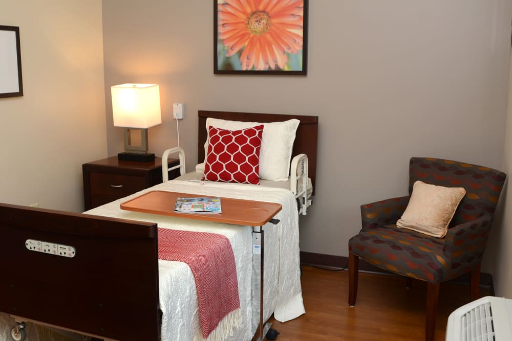 Decorated bedroom at Stonecroft Health Campus in Bloomington, Indiana