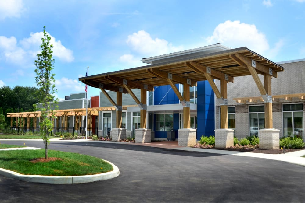 Building exterior and main entrance at Stonecroft Health Campus in Bloomington, Indiana