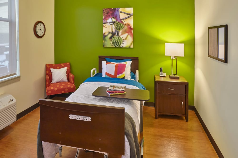 Bedroom with painted walls at The Springs of Mooresville in Mooresville, Indiana