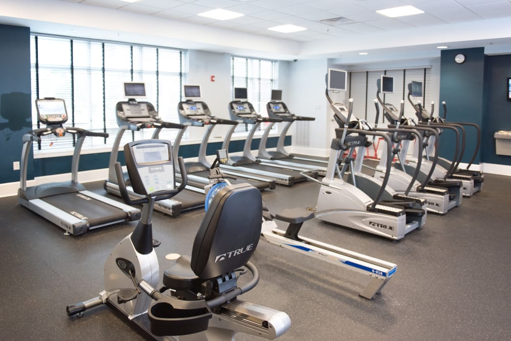 Spacious fitness center at Manor Six Forks in Raleigh