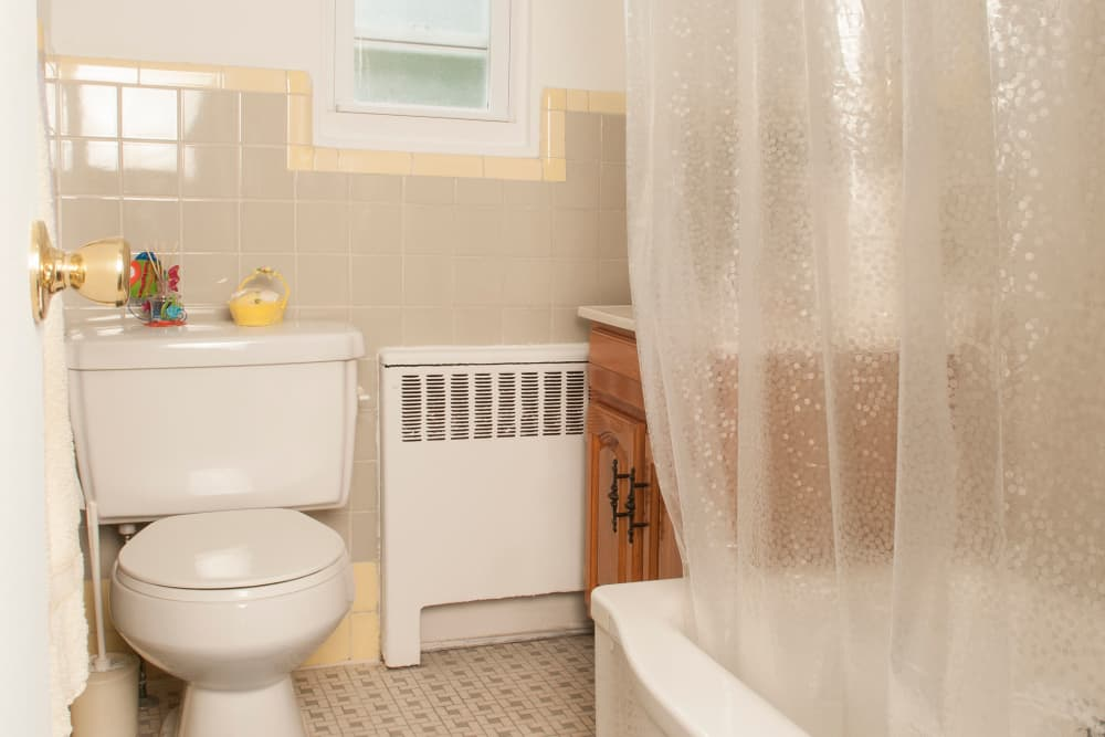 Spacious bathroom at Oakmont Park Apartments in Scranton, Pennsylvania