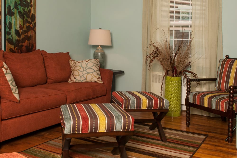 Comfy couch in a living room at Oakmont Park Apartments in Scranton, Pennsylvania