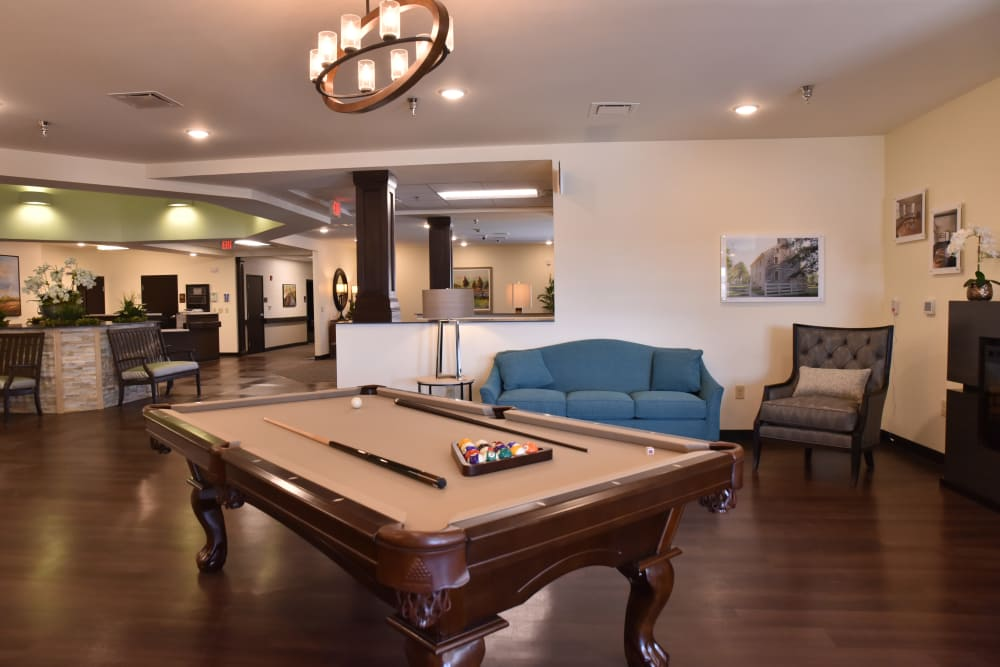Community billiards for residents at The Willows at Harrodsburg in Harrodsburg, Kentucky