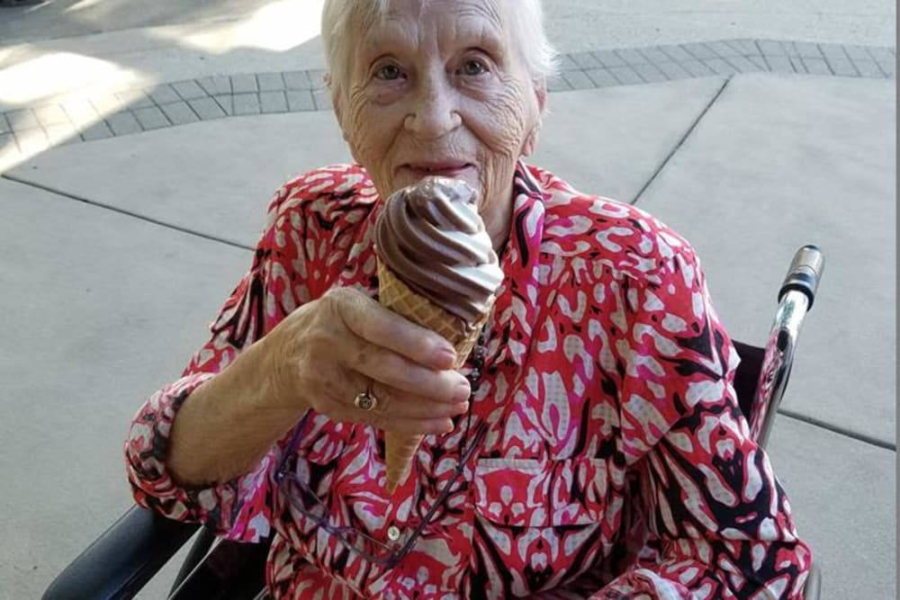 A resident from The Willows at Harrodsburg in Harrodsburg, Kentucky eating ice cream