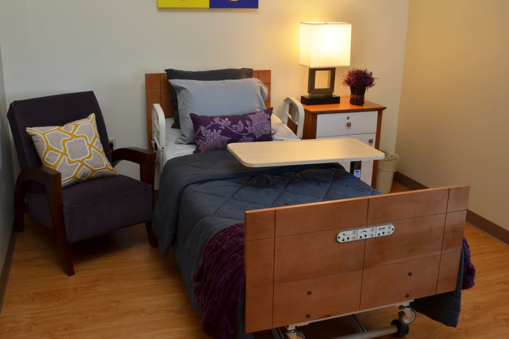 An apartment bedroom at Wellbrooke of Carmel in Carmel, Indiana