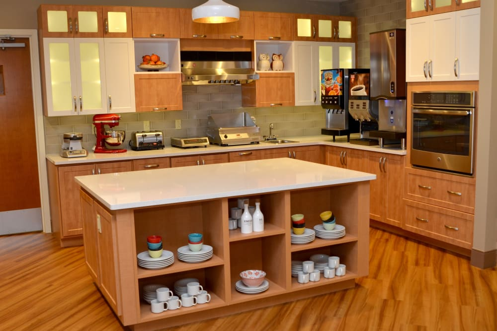 Community kitchen for residents at Wellbrooke of Carmel in Carmel, Indiana