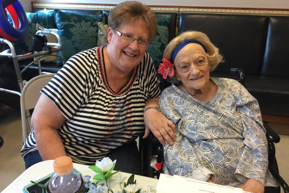 A resident and her daughter at Wellbrooke of South Bend in South Bend, Indiana