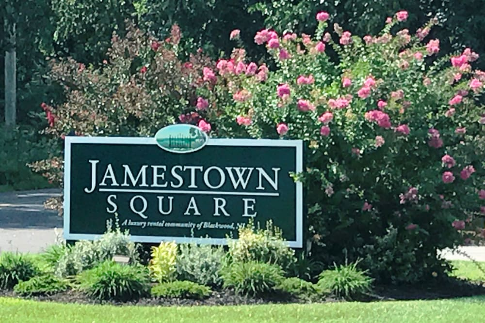 Monument sign at Jamestown Square Apartments in Blackwood, New Jersey
