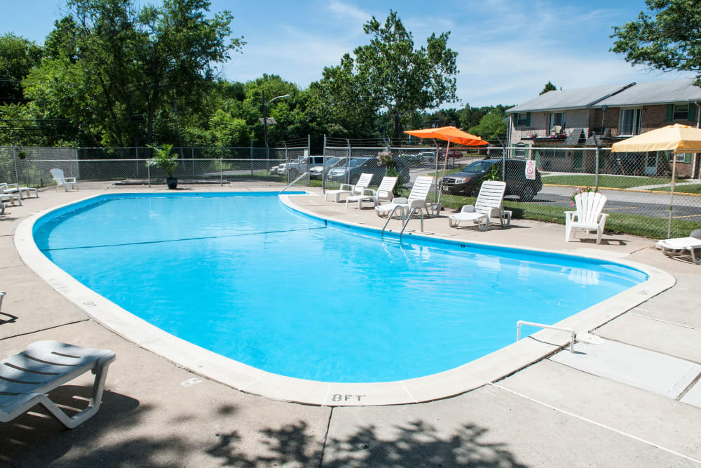 Sparkling pool on a sunny day at Jamestown Square Apartments in Blackwood, New Jersey