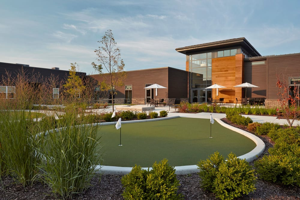 Mini golf course for residents at Wellbrooke of Wabash in Wabash, Indiana