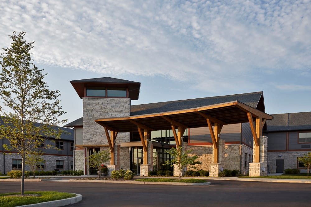 Building exterior and main entrance at Wellbrooke of Westfield in Westfield, Indiana