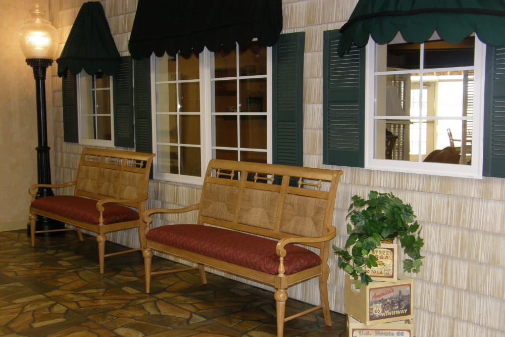 Seating for residents in the town square hall at Amber Manor Care Center in Petersburg, Indiana