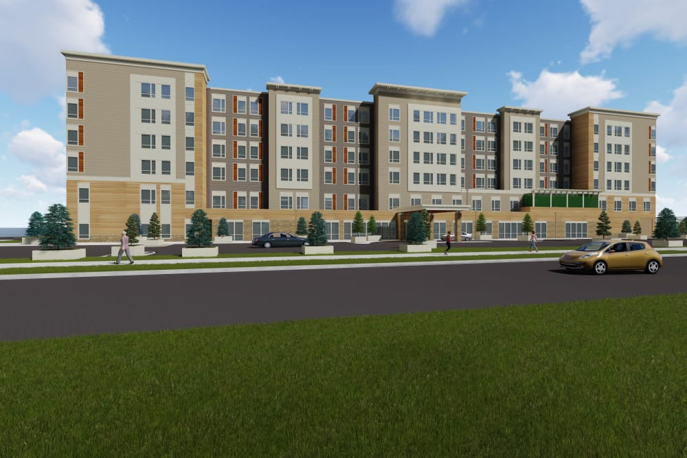 Exterior rendering of GenCare LifeStyle at Point Ruston in Tacoma, Washington