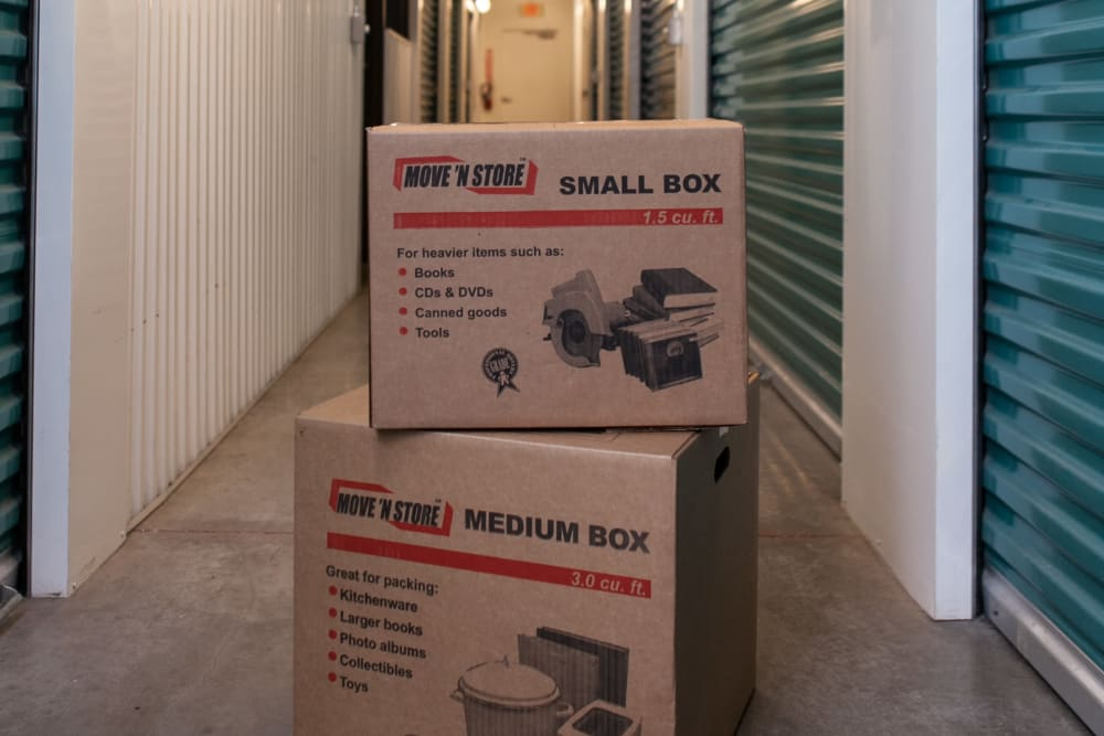 Boxes at BullsEye Storage