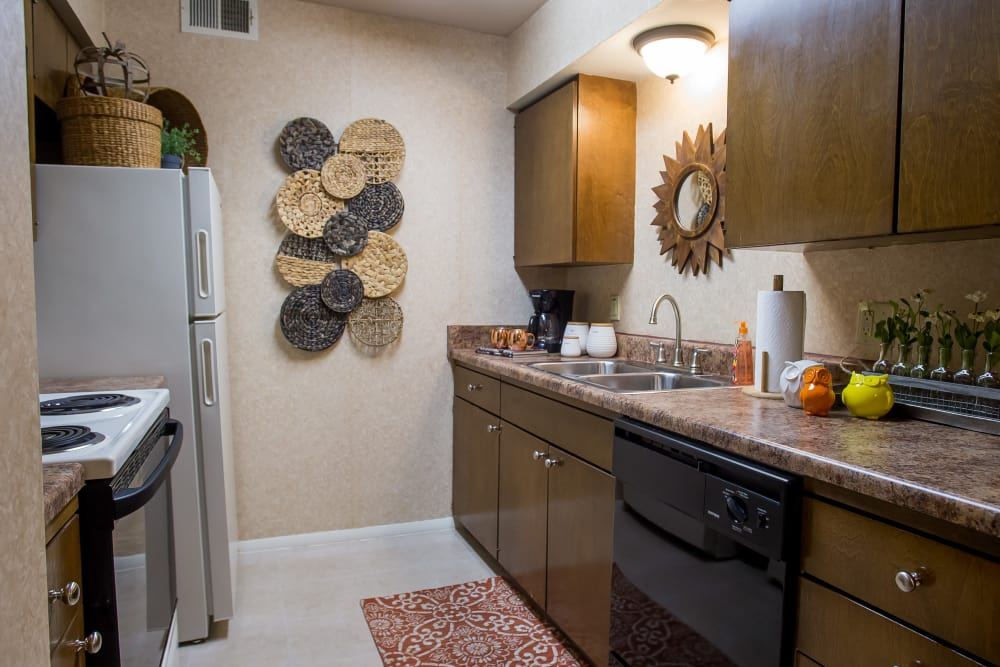 Kitchen at Barcelona Apartments in Tulsa, Oklahoma