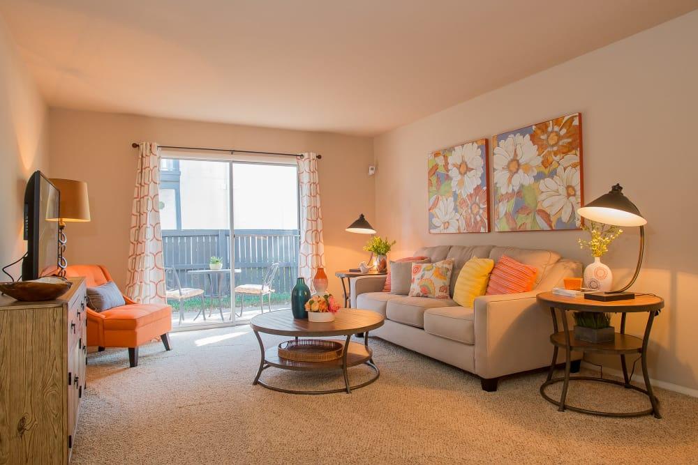 Beautiful living room at Barcelona Apartments in Tulsa, Oklahoma
