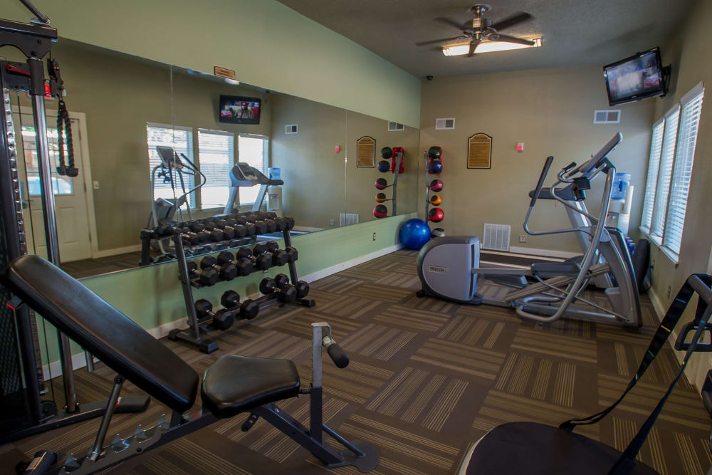 Fitness center at Barcelona Apartments in Tulsa, Oklahoma