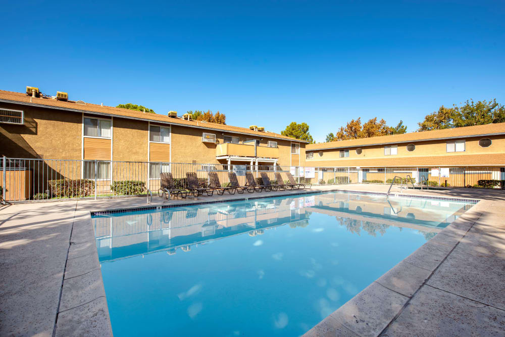Sparkling swimming pool at Sienna Heights Apartment Homes in Lancaster, California