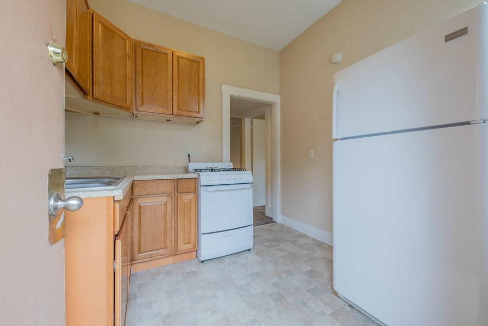 Apartment kitchen at Pleasant Street Apartments in Des Moines, Iowa