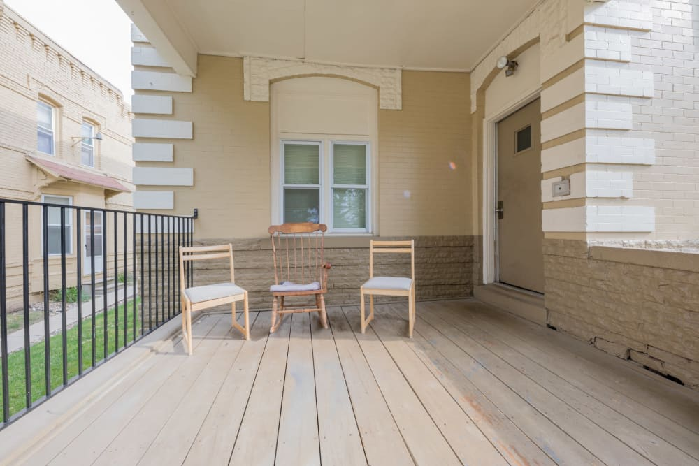 Covered patio at Pleasant Street Apartments in Des Moines, Iowa