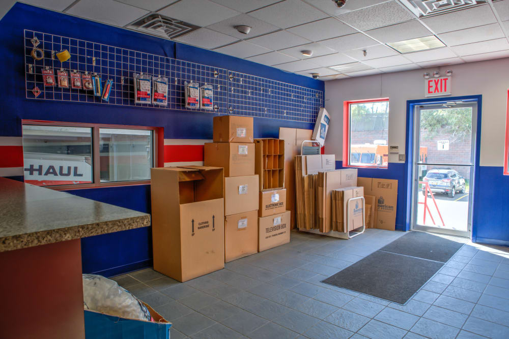 Boxes and supplies at American Self Storage in Staten Island, New York