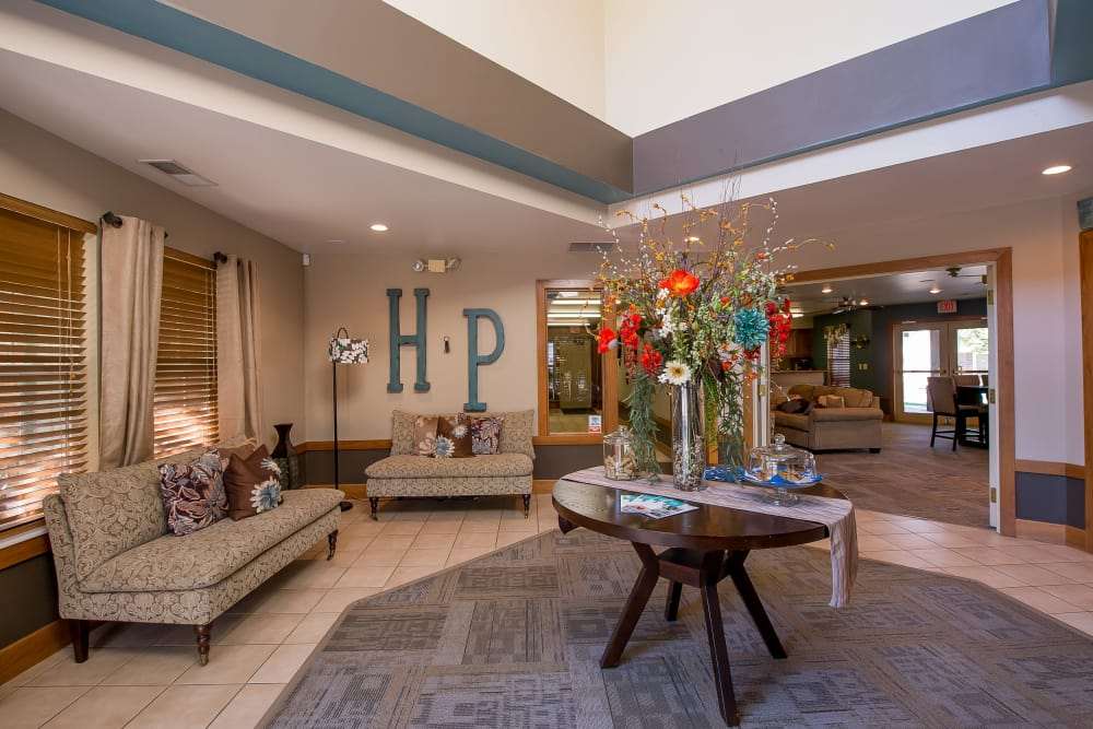 Spacious clubhouse lobby at Huntington Park Apartments in Wichita, Kansas