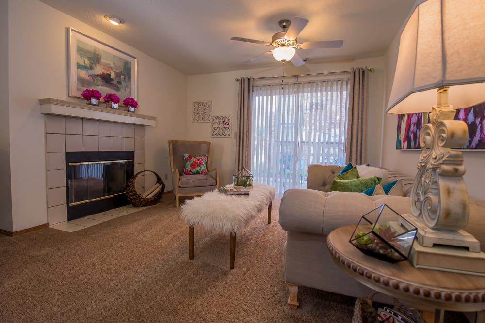 Beautiful living room at Huntington Park Apartments in Wichita, Kansas