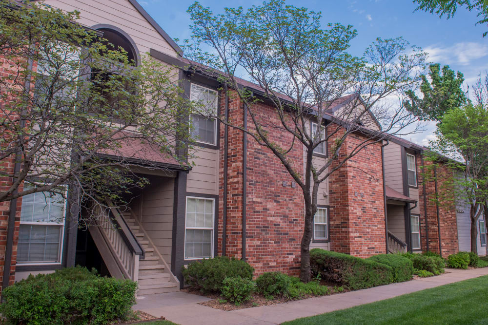 Building exteriors at Huntington Park Apartments in Wichita, Kansas