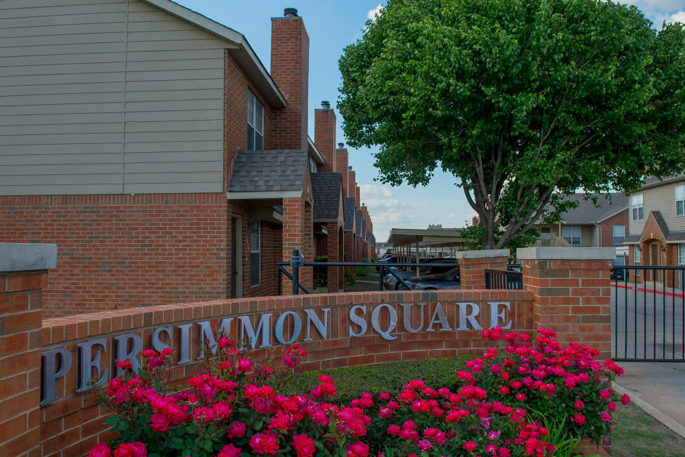 Sign for Persimmon Square Apartments in Oklahoma City, Oklahoma