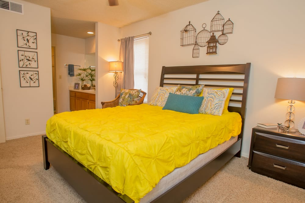 Master bedroom at Polo Run Apartments in Tulsa, Oklahoma