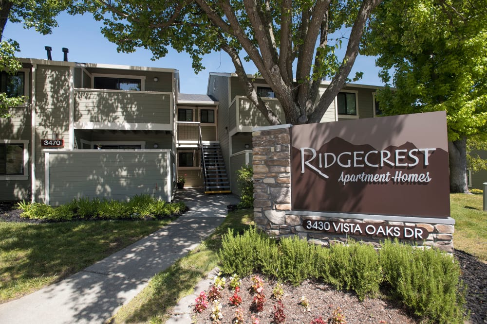 Welcome sign at Ridgecrest Apartment Homes in Martinez, California