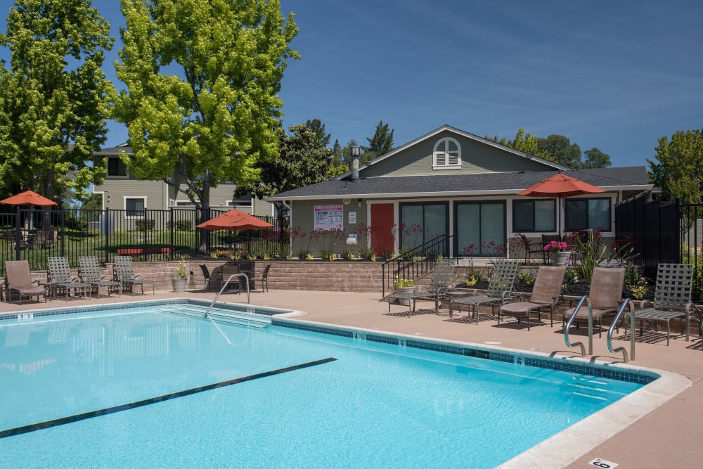 Resort style swimming pool at Ridgecrest Apartment Homes in Martinez, California