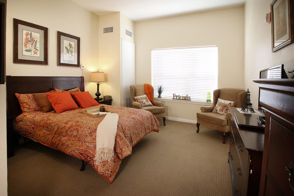 Model bedroom at Reunion Court of The Woodlands in The Woodlands, Texas
