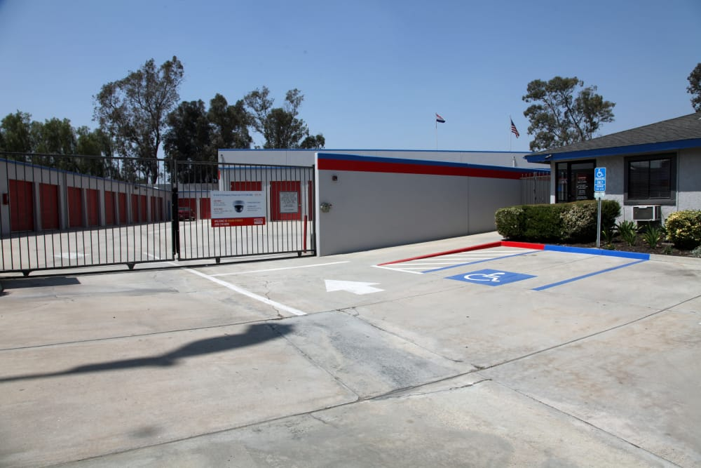 Security entrance to Trojan Storage in Colton, California