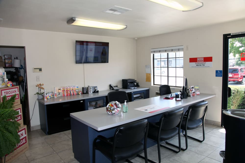 Main office seating at Trojan Storage in Colton, California