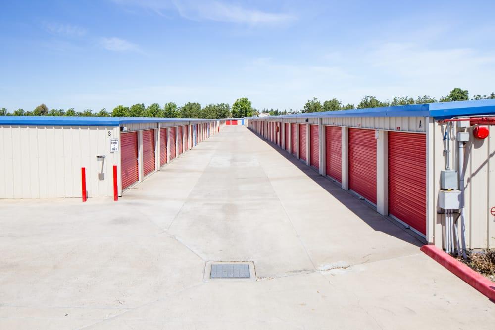 Drive-up storage at Trojan Storage in Elk Grove, California