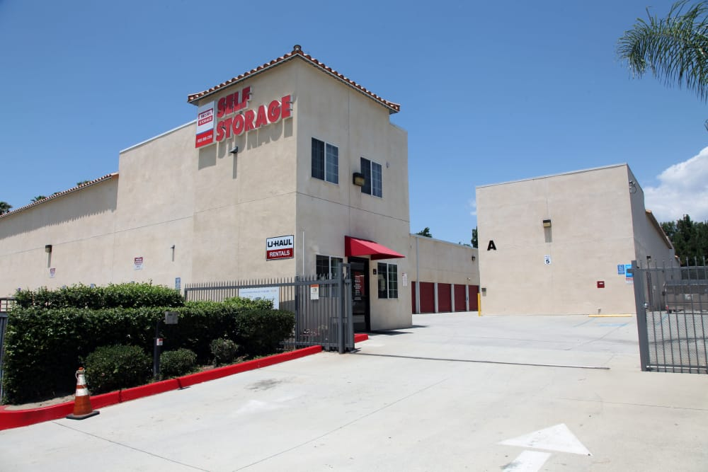 Front entrance to Trojan Storage in Ontario, California