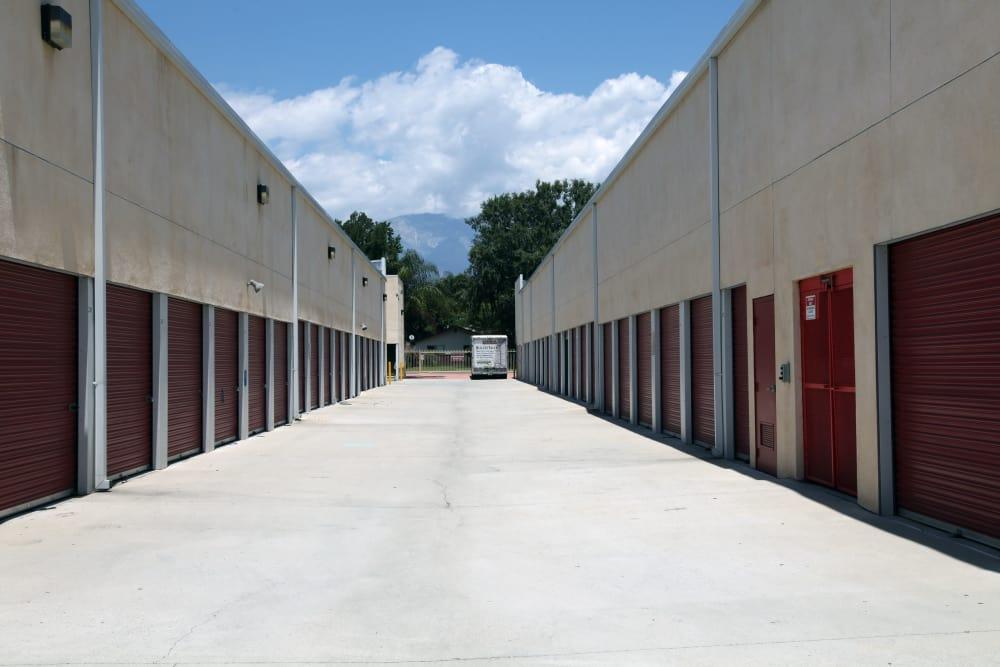 Wide driveways at Trojan Storage in Ontario, California