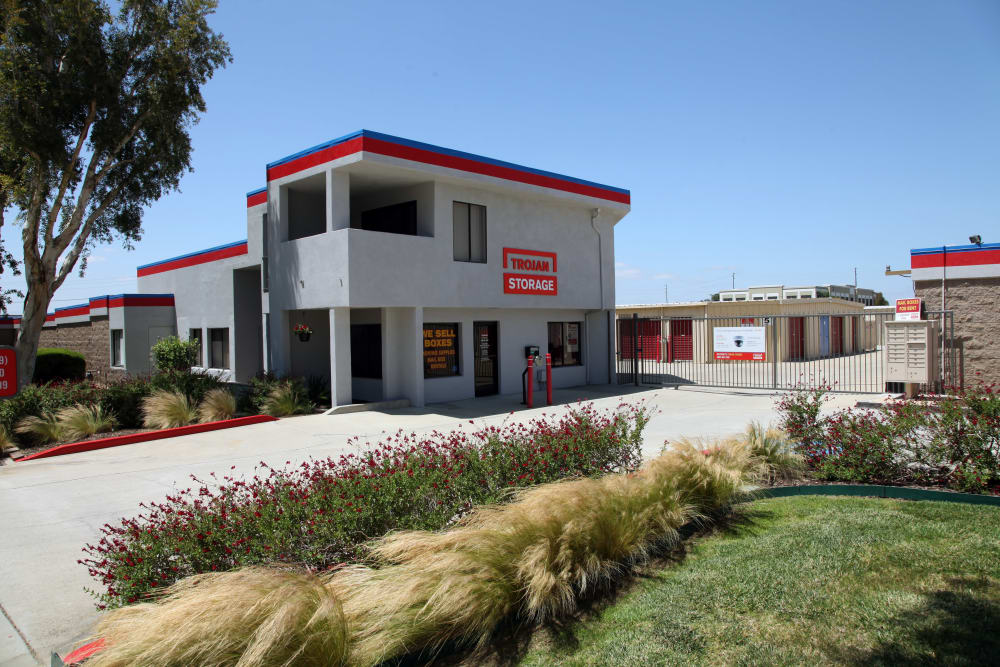 Front entrance to Trojan Storage in Rancho Cucamonga, California