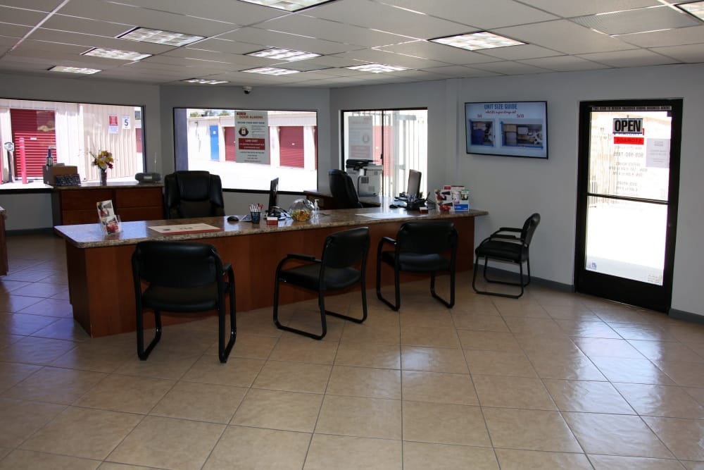Front office at Trojan Storage in Rancho Cucamonga, California