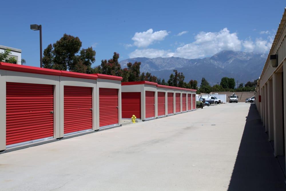 Drive-up units to Trojan Storage in Rancho Cucamonga, California