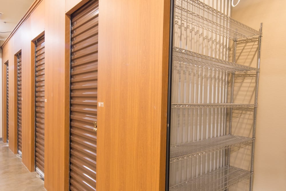 Small locker units with organizer available at Trojan Storage in Rocklin, California