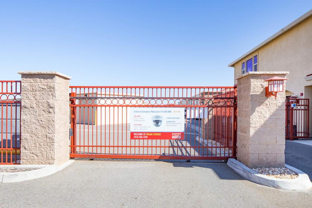 Gated entrance with keypad at Trojan Storage in Rocklin, California